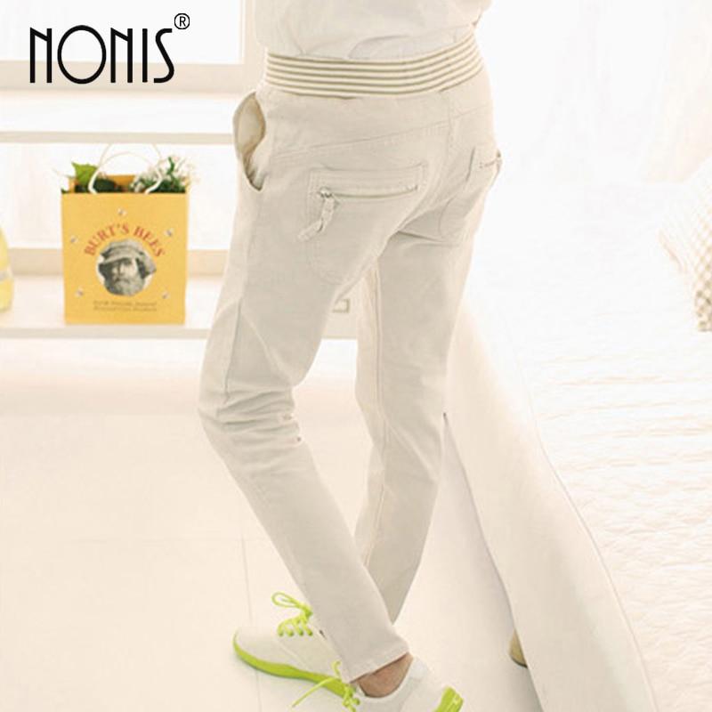 Nonis women New Slim Cotton drawstring Pants Elastic Waist pockets Long Trousers Harem Pant Blue Khaki Apricot