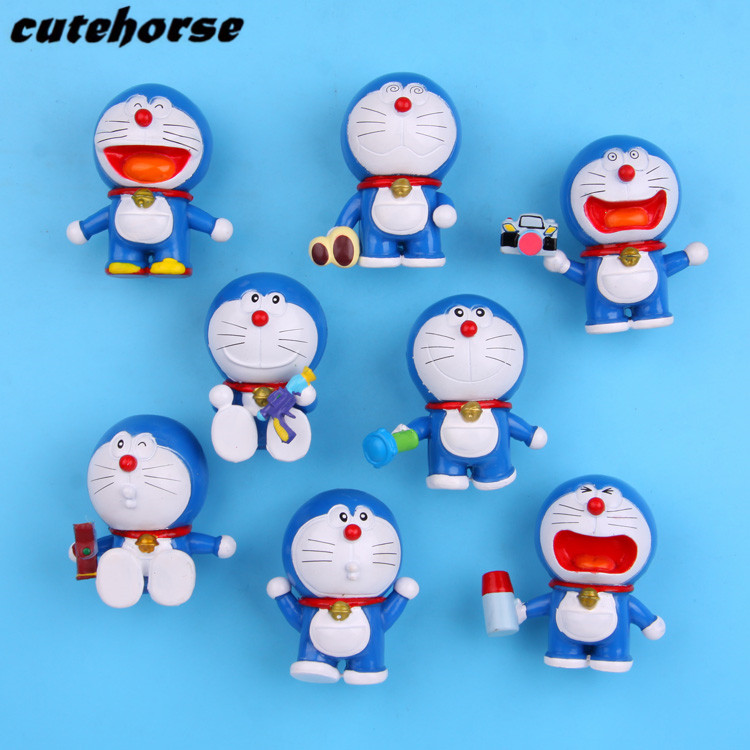 Cartoon creative Doraemon series decoration fridge magnets 8 pcs /set PVC powerful fridge magnets