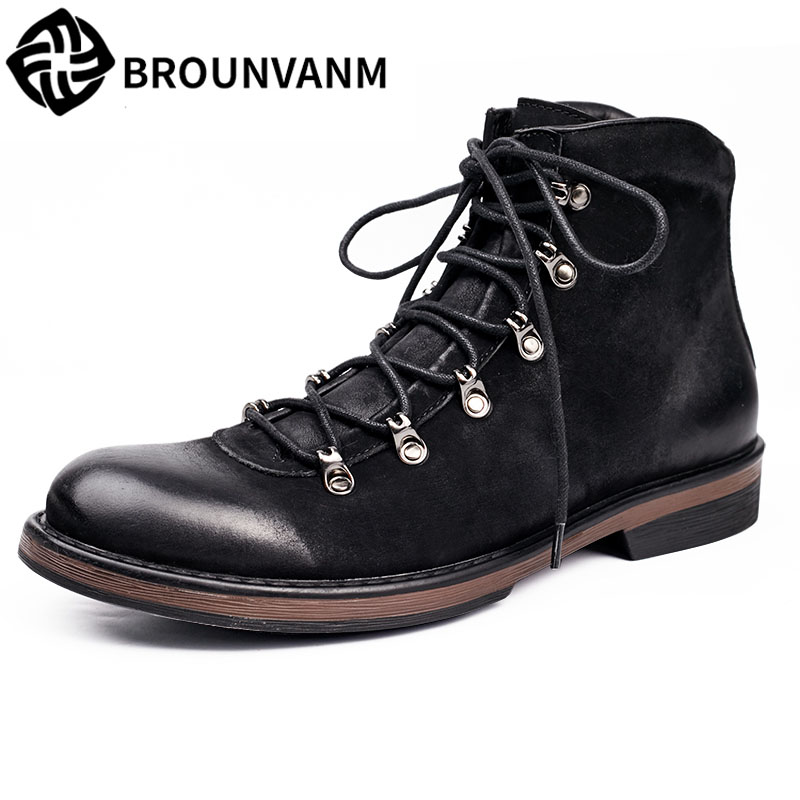 new Martin men leather boots shoes western 2017 new autumn winter British retro men boots zipper leather shoes breathable mulinsen new 2017 autumn winter men