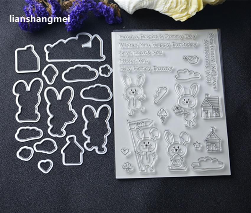 Lapin En Métal De Coupe Meurt et timbre Pochoirs pour le BRICOLAGE Scrapbooking/photo album Décoratif Gaufrage BRICOLAGE Papier Cartes de Faire Proj Q