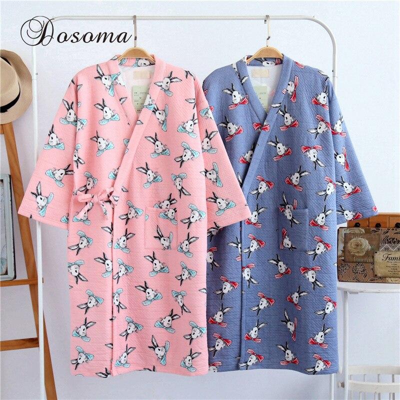 Japanese Yukata Robes Winter Warm Kimono Pajamas Sets Thickening Cotton Bathrobe Pyjamas Loose Style Sleepwear Leisure Lovers