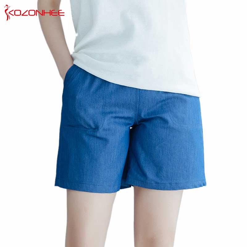019 New Women Fashion Casual Loose Denim Women High Waist   Shorts   Women Pure Color Summer Fashion Women Loose Plus Size S-5X #094