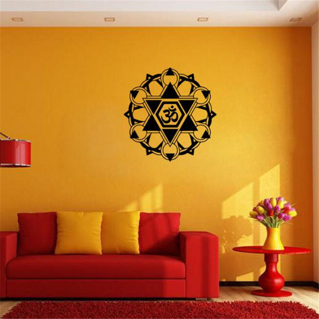 IDFIAF Hot Selling Buddhism India Mandala Wall Stickers Namaste Removable Creative Vinyl Wallpaper Mural Home