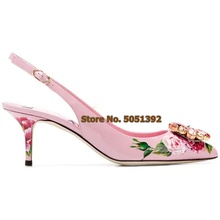 Women High Heel Back Strap Sandals Flower Pumps Pointed Toe Crystal Glittering Sicily Rose Wedding Shinning Dress Shoes Jewelry