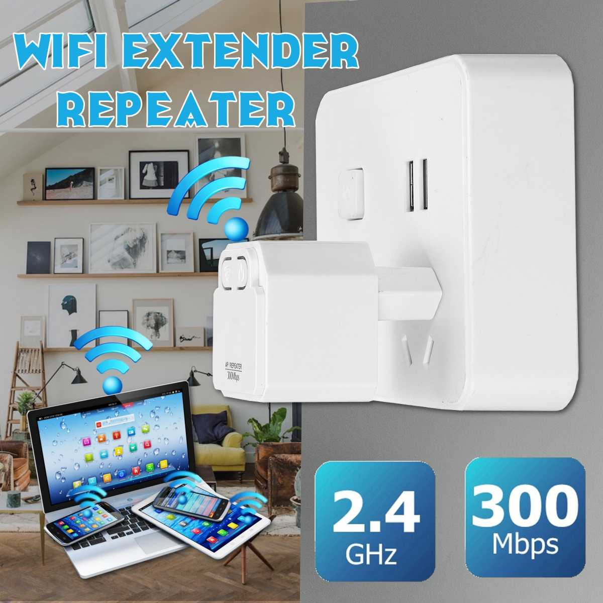 LEORY 300Mbps Mini Wireless Wifi Repeater Router  Booster Extender EU Plug Home Network Dual External