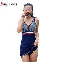 2018 Sexy Dress Swimsuit Navy Blue One Piece Swimsuits Woman One piece Skirt Swimwear L 5XL Deep V Retro Vintage Beachwear