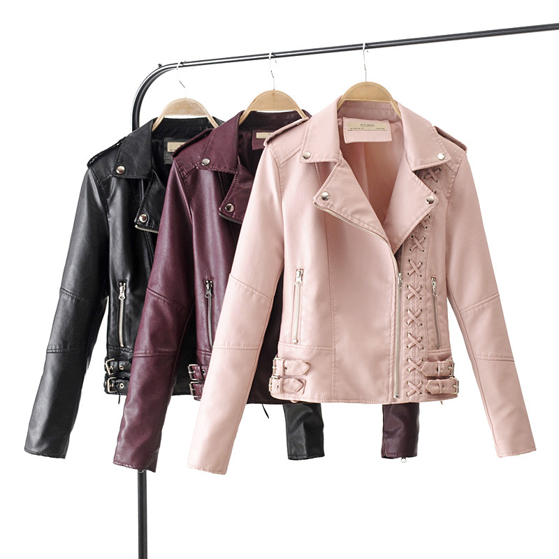 2018 New Spring Fall Women Faux   Leather   Coat Wine Red Black Moto Style Top Out Wearwork Coat