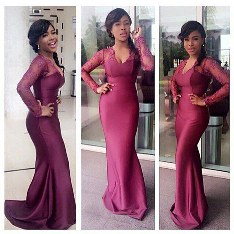 Sexy V-neck Mermaid Bridesmaid Dresses Burgundy Lace Appliques African Bridal Prom Dress Party Gowns Maid Of Honor Dress