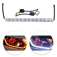 Streamer turn LED car race horse crystal tear eye lamp telescopic two-color water signal 16LED daily light white and yellow