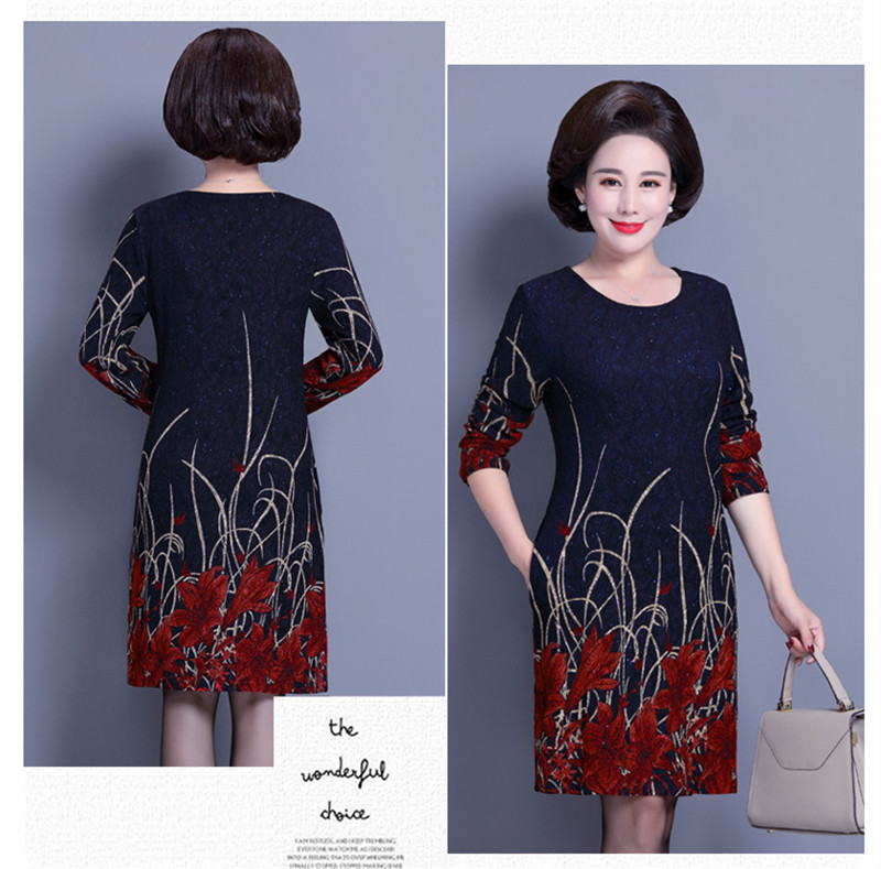 7cc503a4d1 Elegant Middle Aged and Old Women's Autumn Dress Long Sleeve 40 - ...