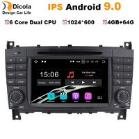 7HD IPS 6 Core Android 9.0 Car DVD Player for Mercedes W203 android C200 C230 C240 C320 C350 CLK W209 GPS Radio WiFi 4G RDS BT
