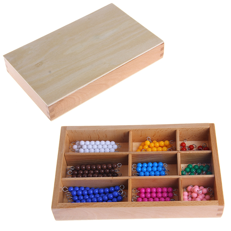 Montessori Mathematics Material 1-9 Beads Bar in Wooden Box Early Preschool Toy new wooden montessori family version brown stair width 0 7 cm to 7 cm early childhood education preschool training baby gifts