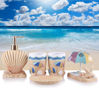 Romantic Resin Bathroom Products Creative Sea Shell Style Cups Soap Dish Toothbrush Holder Bathroom Accessories Sets Best Gifts