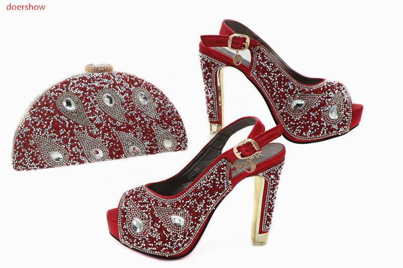 doershow Shoes and Bag Set African Sets 2018 Ladies Italian Shoes and Bag Set Decorated with Rhinestone Nigerian Shoes TN1-23 doershow ladies italian shoes and bag set decorated with rhinestone african wedding shoes and bag set party black shoes svp1 15