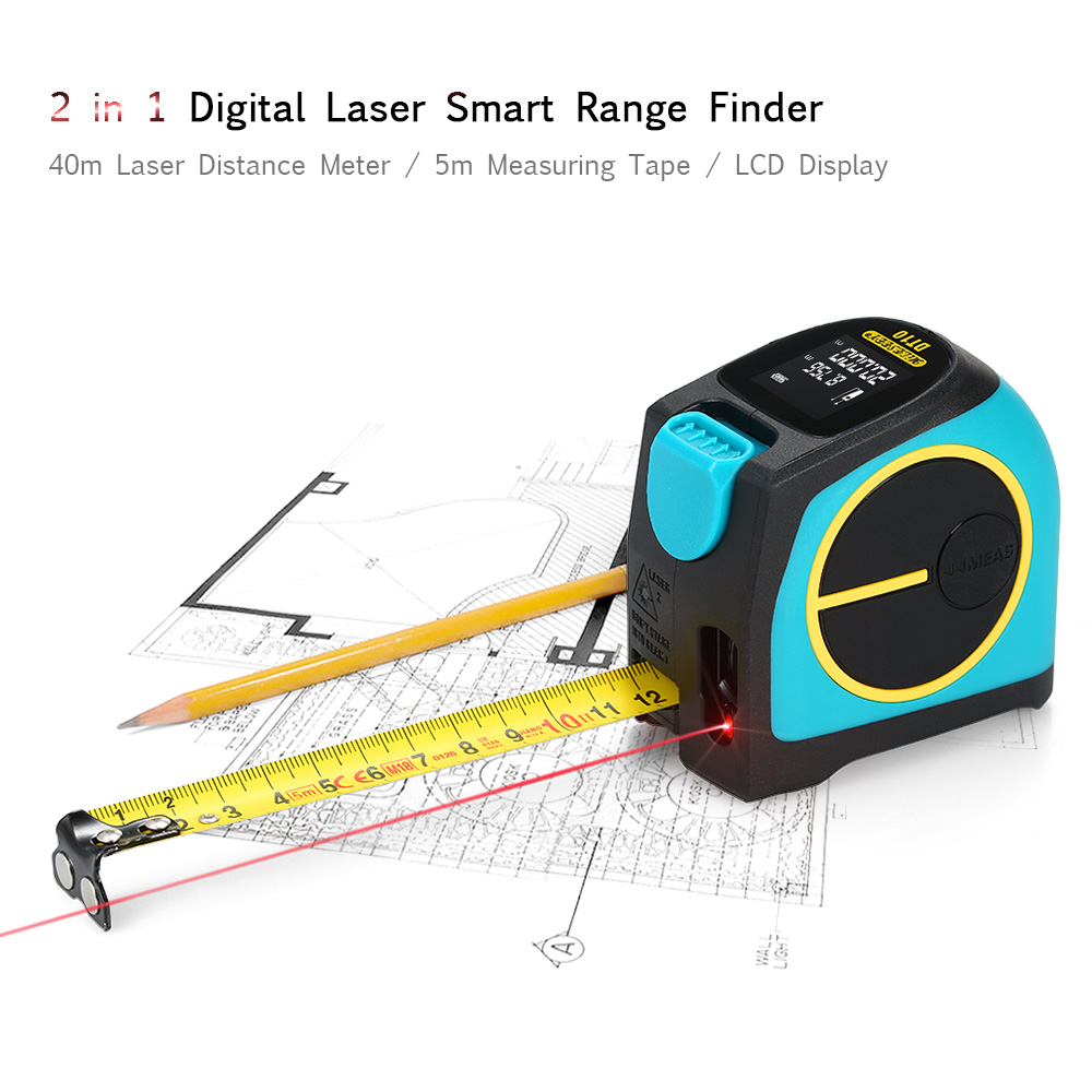 2 in 1 40+5M Laser Ruler Rangefinder LED Digital Tape Measure Distance Gauging