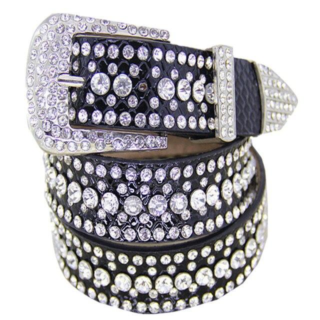 France Eropean USA Luxury Women Leather Belt Fashion Decorative Diamond Belt Casual Creative Jeans Dress Trousers Leisure Belt