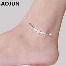 AOJUN 2016 Hot Silver Anklet Fashion Anklets For Women Ankle Bracelets Barefoot Sandals Female Leg Chain Foot Jewelry JL00
