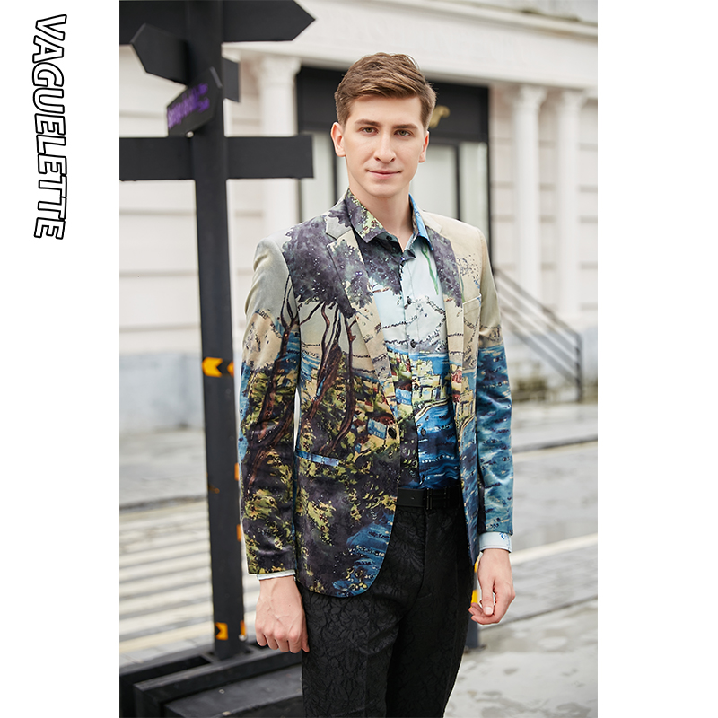 VAGUELETTE Italy Style Print Men Blazer Fashion Party Wear Pattern Jacket Coat Single Button Stage Clothing For Men M 4XL - 5