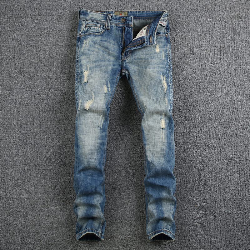 Summer Style Men Jeans Blue Color Denim Destroyed Ripped Jeans Men High Quality Skinny Slim Fit Biker Jeans Casual Leisure Pants retro design men jeans vintage style slim fit destroyed ripped jeans men high quality denim motor biker jeans skinny mens pants