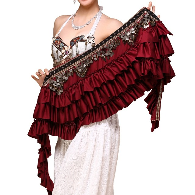 2018 New Tribal Bellydance Clothes Gypsy Costume Accessories Fringe Wrap Coins Belts Hip Scarf Belly Dance Belt 1
