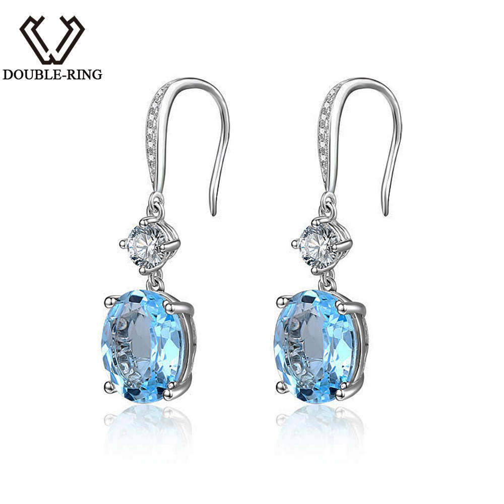 цена на Natural Sky Blue Topaz Earrings with Gemstone 925 Sterling Silver 6.9ctw Gemstone Drop Earrings for Women Engagement Anniversary