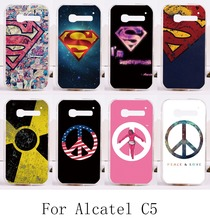 Hard Plastic&Soft TPU Phone Cases For Alcatel OneTouch Pop C5 5036 one touch pop c5 OT5036 5036D Cover Back Superman Phone Bags