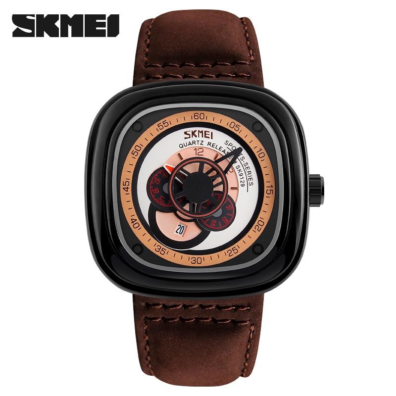 fashion men quartz watch font b SKMEI b font brand leather men sport watches 2017 gift