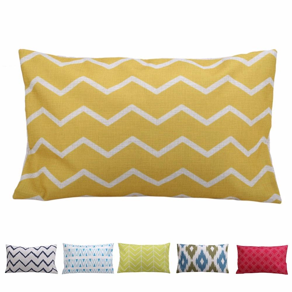Rectangle Geometric Pillow Case Linen Cotton Cushion Cover Decorative Pillowcase Home Sofa Seat Throw Pillow Case