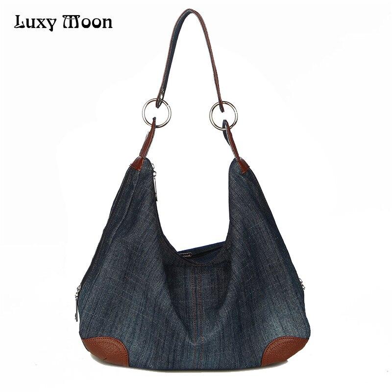4e36687e34c1 Luxy деним Сумки большой Для женщин сумка большая Хобо кошельки женские  сумки Жан Shopper Tote Роскошные Дизайнерские Crossbody сумка