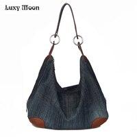 32a1d825b 2016 Denim Handbags Large Women Bag Big Hobo Purses Ladies Hand Bags Jean  Shopper Tote Luxury. Luxy Bolsas Jeans Grandes Mulheres Saco Grande ...