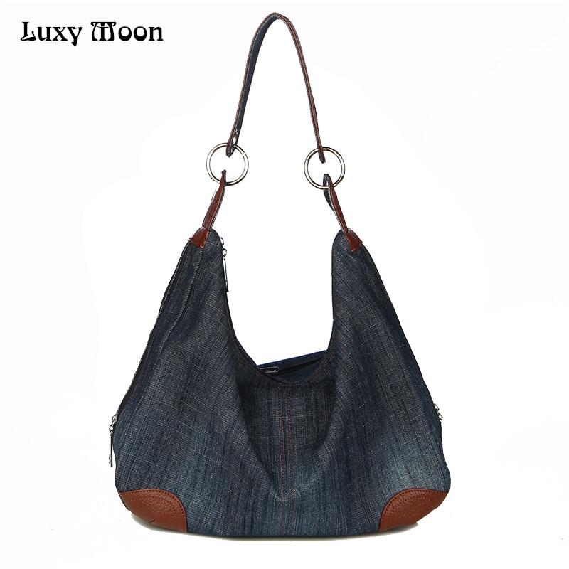 Luxy Denim Handbags Large Women Bag Big Hobo Purses Ladies Hand bags Jean Shopper Tote Luxury Designer Crossbody Messenger Bag asg dan wesson 2 5