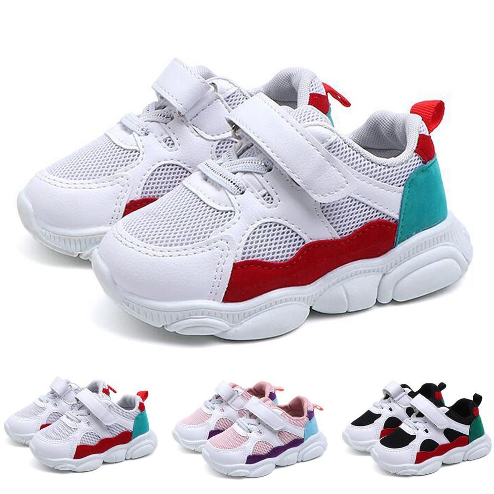 Children Kid Shoes Girls Boys Sport Antislip Soft Bottom Kids Baby Tennis Shoes Sneaker Casual Flat Sneakers White Toddler Shoes