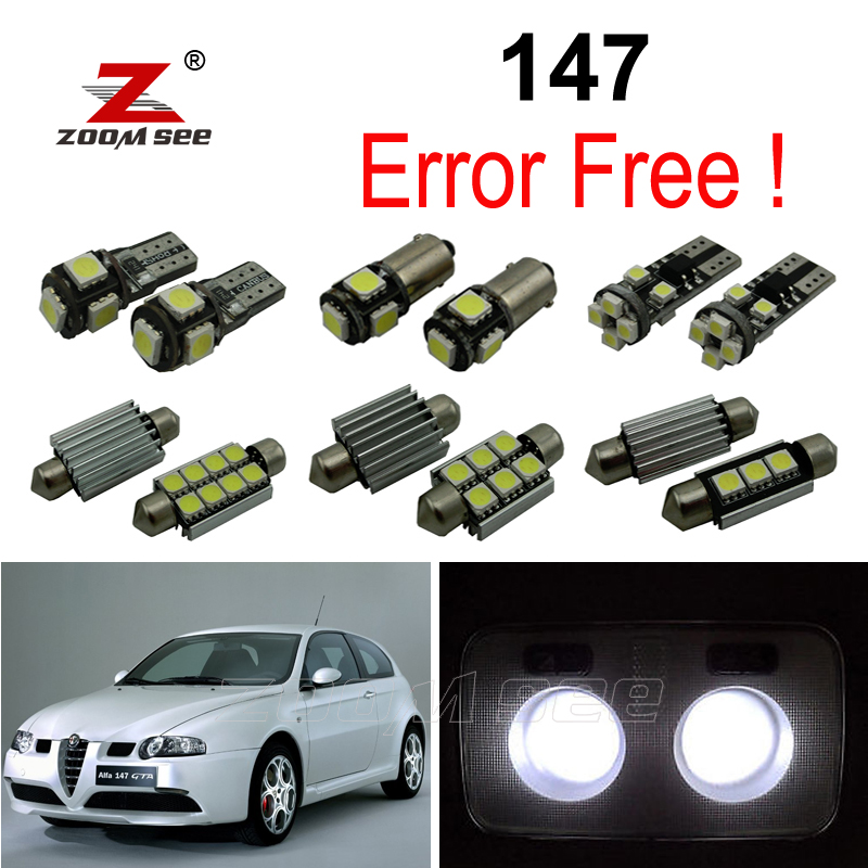 9pc x Kesalahan Bebas LED bulb interior dome map light Kit untuk Alfa Romeo 147 (2000-2010)