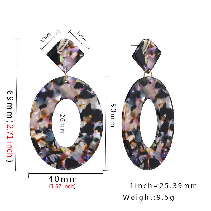 2019 moda ZA biżuteria żywica akrylowa owalne Dangle kolczyki dla kobiet geometria Big Circle Tortoiseshell kolczyki octan Brincos