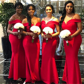 Red Mermaid Long Bridesmaid Dresses 2019 V-Neck Spaghetti Strap Women Formal Wedding Party Dress robe demoiselle d'honneur