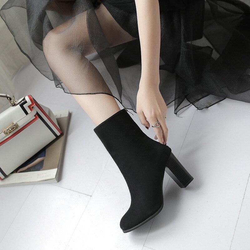 Femmes Femme Pointu Hauts Mode Zipper À Noir Daim Retour gris Stretch De marron Bottes Martin Talons TrTn8x1