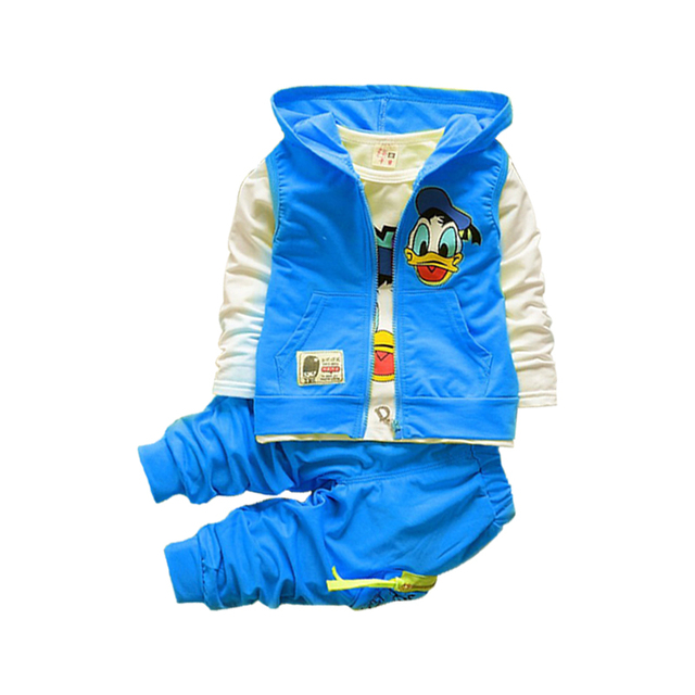 New Donald Duck Baby clothing boys and girls Set sport Suit 3Pcs vest+T-Shirt+Pants baby Summer Sets 2-5yrs baby clothing