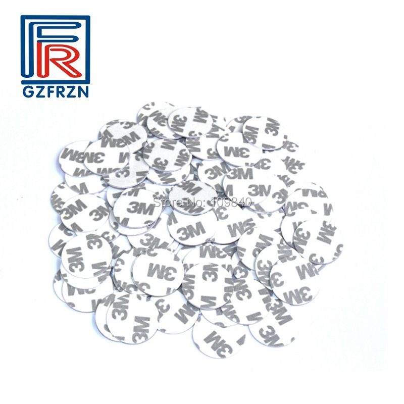 100pcs/lot NFC NTAG216 rfid tag with 3M sticker ISO14443A 888byte PVC 25mm token coin tag cards