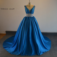 Ball Gown Beading Waist Withe Crystal Real Picture Luxury For Beauty Formal evening gown Evening dress Prom dress