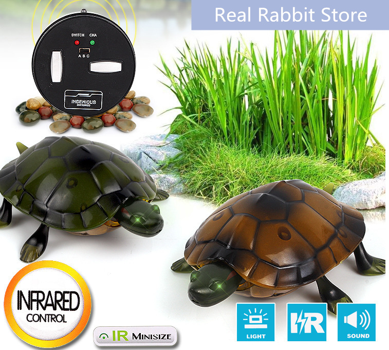 [Funny] Trick electronic pet RC simulation sound & light Tortoise robot model prank toy remote control smart animal kids gift