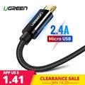 2.4A Ugreen Cabo Micro USB Nylon Cabo de Dados USB de Carga Rápida para Samsung Xiaomi LG Tablet Android Telefone Móvel USB cabo de carregamento