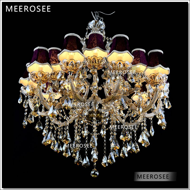 Galaxy Cognac color Crystal Hotel Chandelier Torch Cristal lustres pendentes Large Hanging luminaire with 15 lights MD88062