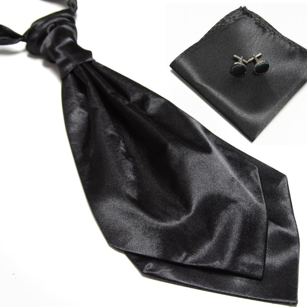 2018 neck tie set for mens cravat ascot handkerchief cufflinks pocket square blue black party wedding business