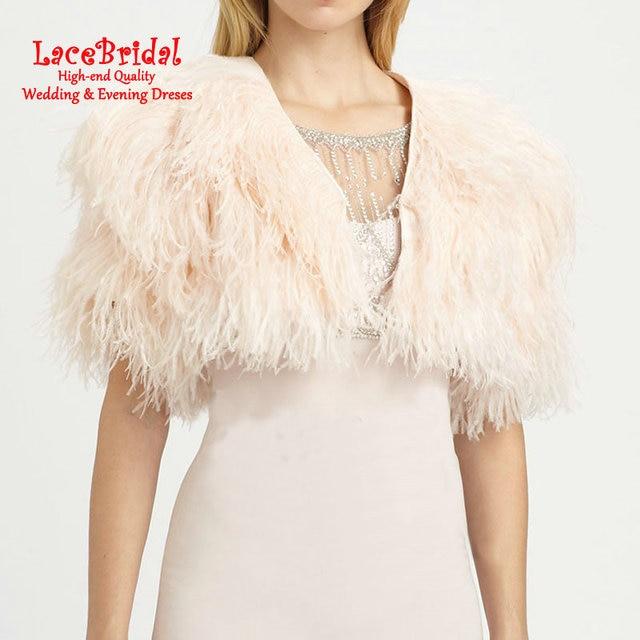 Champanhe de luxo Casacos de Penas de Avestruz Casamento Boleros De Pele 2016 Inverno Jaqueta De Noiva para noite vestidos de Casamento Acessórios B78