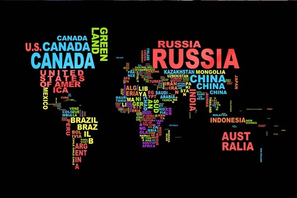 Bedding Room Design Wall Posters World Map country names Printed ...