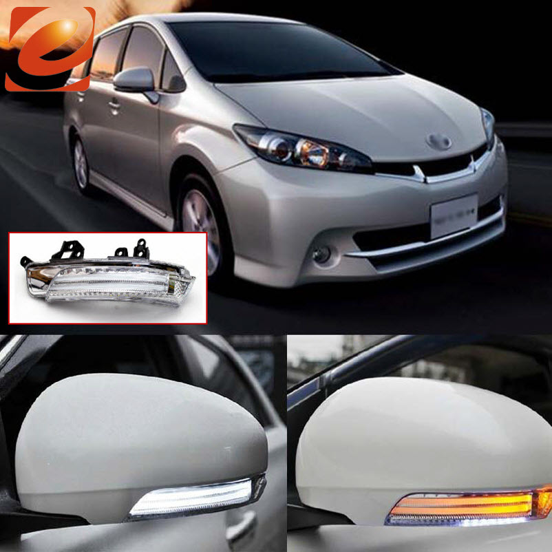 EeMrke For Toyota Wish ZGE2 2010 2011 2012 Side Rear View Mirror Lights LED DRL Turn Signals Irradiated Ground Lights