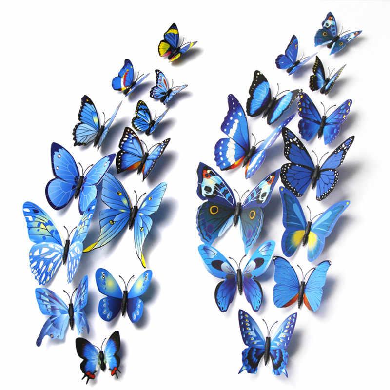 12 قطعة 8 ألوان 5 سنتيمتر ثلاثية الأبعاد البلاستيك واقعية الاصطناعي فراشة في منزل الزفاف الديكور scrapبها بنفسك سكرابوكينغ ديكور المنزل