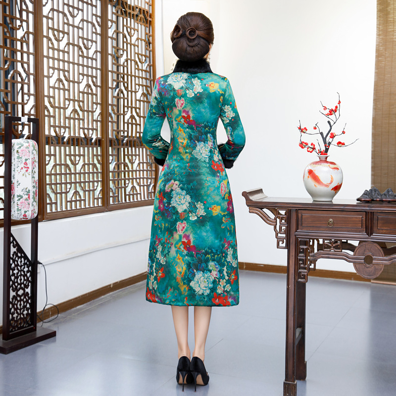 Mandarin Robe 7103 Dame Hiver Long Femmes Style Mince L Vintage Manteau 4xl Col Chinois Fleurs 7101 7104 Robes Veste La 7102 De rYYz7wWx