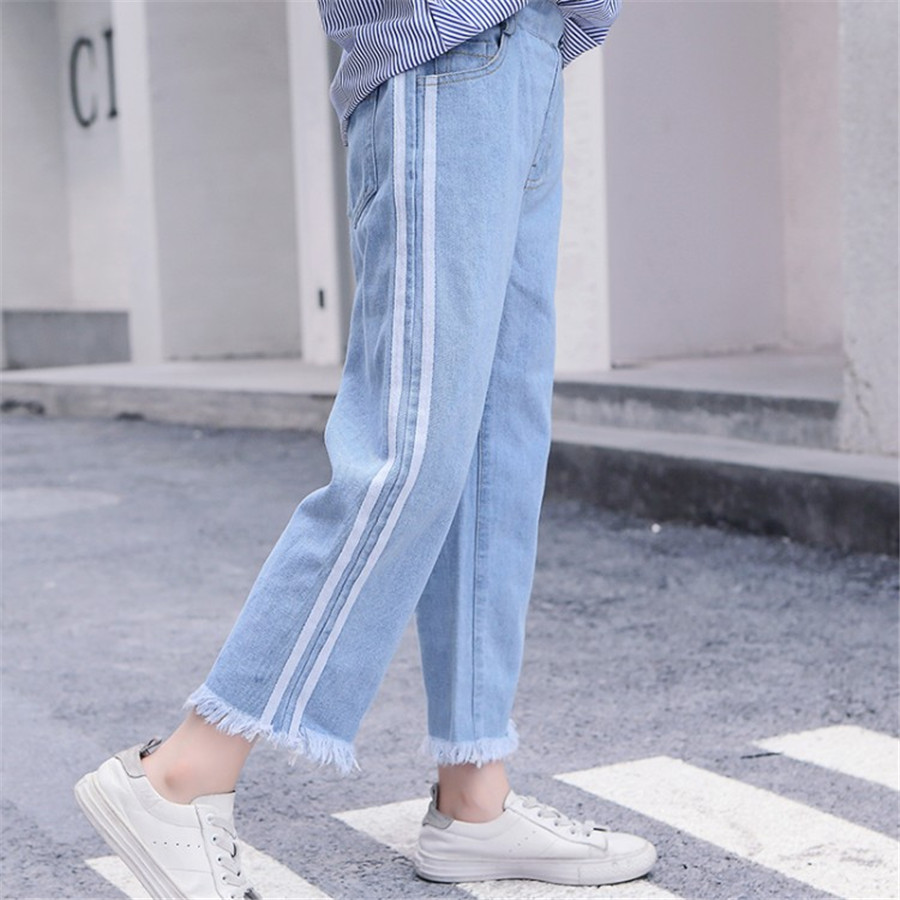 Girls 4-12 Years Spring Autumn Jeans Denim Loose Pants Casual Fashion Raw Edges Side Double Stripes Elastic Waist Jeans Trousers 3