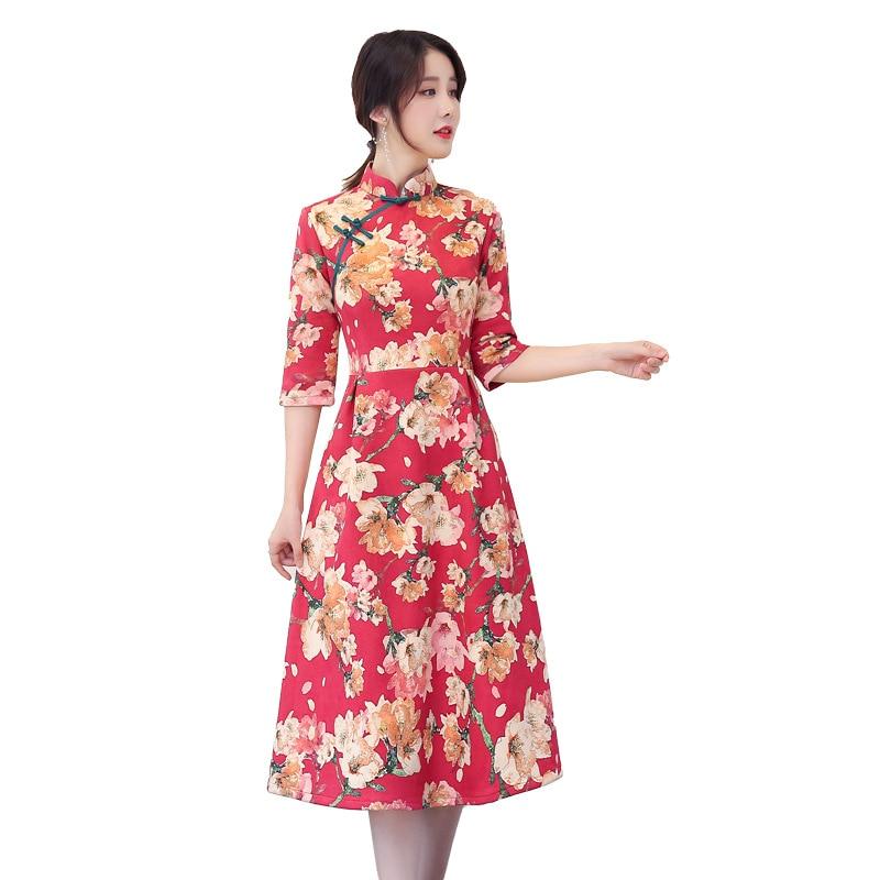 New Long Section Cheongsam Fashion Wind Thin Slim Retro Stand Collar Plate Button Chinese Cheongsam Dress